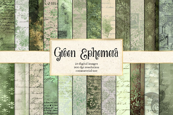 Green Ephemera, distressed vintage damask digital paper textures