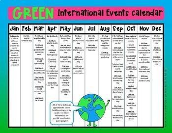 Green Events Calendar Freebie - environmental dates from around the globe