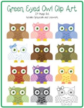 Green Eyed Owl Clip Art