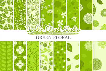 Green Floral digital paper, Green Floral patterns, Flowers, Dhalia, Leaves.