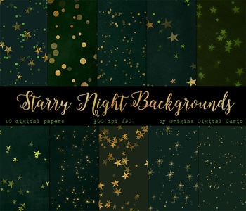 Green Forest Starry Night Digital Paper Green and Gold Stars Backgrounds