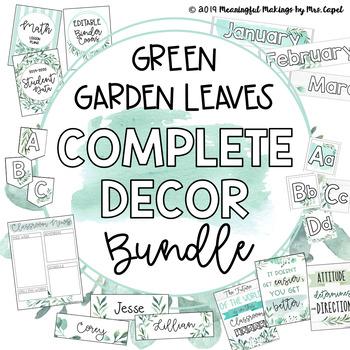 Green Garden Leaves Classroom Decor; Farmhouse Themed Bundle
