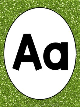 Green Glitter Alphabet and Numbers