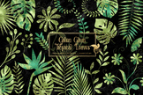 Green Glam Tropical Leaves Clipart