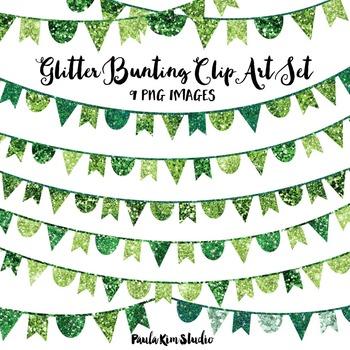 Green Glitter Bunting Clip Art