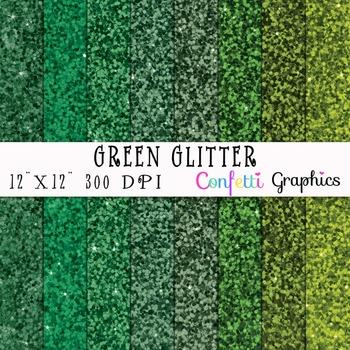 "Green Glitter Digital Paper Pack 8 Sheets Emerald Kelly Hunter 12""x12"""