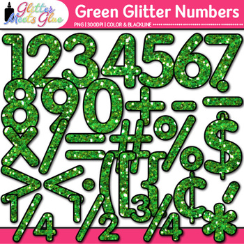 Green Glitter Math Numbers Clip Art {Great for Classroom Decor & Resources}