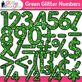 Green Glitter Math Numbers Clip Art {Great for Classroom D
