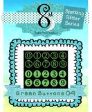 Green Glitter Number Buttons 0 -9