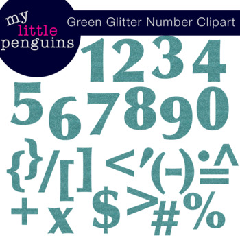 Green Glitter Numbers and Symbols (math)