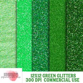 Green Glitter Papers, 12x12 Inch, 300 dpi, Commercial Use