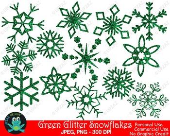 Green Glitter Snowflakes {Upzaz Digital Clipart}