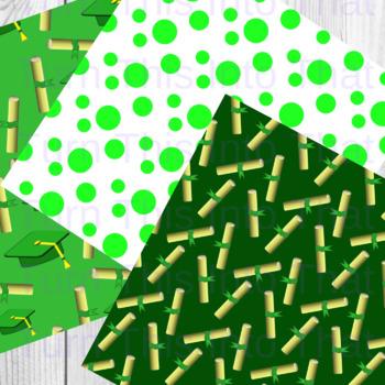 Green Graduation Digital Papers - Scrapbooking Paper - Scrapbook Clip Art