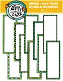 Green Half Page Doodle Borders