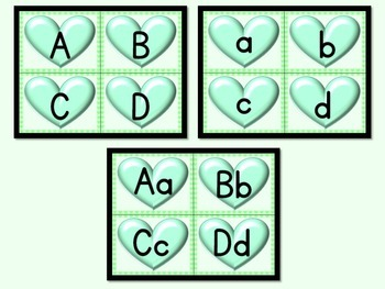 Green Heart Alphabet Letter Flashcards Uppercase and Lowercase