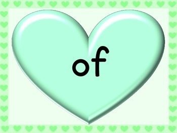 Green Heart Dolch First Grade Sight Word Posters and Flashcards