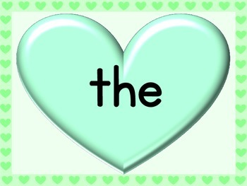 Green Heart Fry List 1 From 1st 100 Sight Word Posters and Flashcards