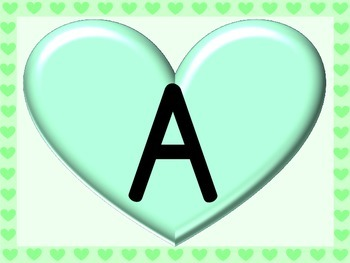 Green Heart Full Page Alphabet Letter Posters Uppercase and Lowercase