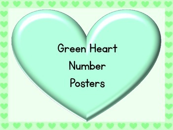 Green Heart Full Page Number Posters 0-100