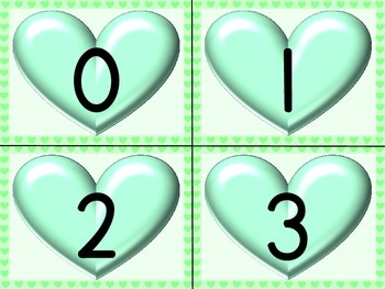 Green Heart Number Flashcards 0-100