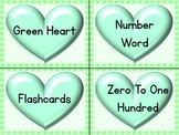 Green Heart Number Word Flashcards Zero To One Hundred
