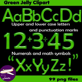 Alphabet Clip Art Green Jelly Numerals + Maths Symbols & Punctuation Marks