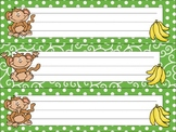 Green Jungle Monkeys Name Tags / Desk Plates