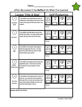 "Green Kit ""I Can Reflect"" Worksheets Levels A-B Lessons 1-30"