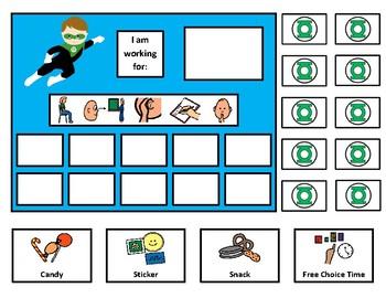 Green Lantern 10 Token Board with Behavior Visuals