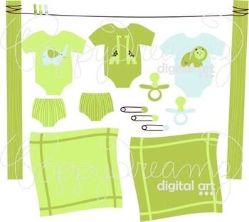 Green Layette Clipart by Poppydreamz