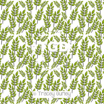 Green Leaf Spring Pattern on White digital paper Printable
