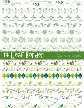 Green Leaves Digital Border Clip Art Green Leaf Border Element Ornate