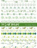 Green Leaves Digital Border Clip Art Green Leaf Border Ele