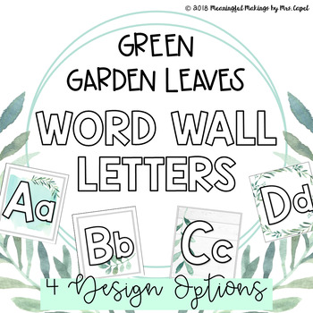Green Garden Leaves Word Wall Letters