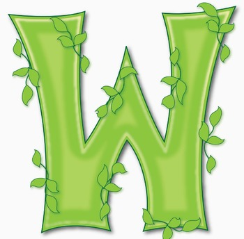 """Green Leaves Styled Alphabet  /  97 pcs - 3.5"""" High, Vector PDF and PNGs"""