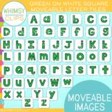 Green Letter On White Tile Clip Art {MOVEABLE IMAGES}
