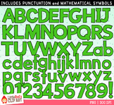 Green Letters and Numbers Clip Art