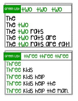 Green List Sight Word Pyramid Sentences