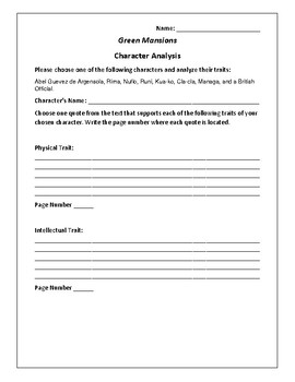 Green Mansions Character Analysis Activity - William H. Hudson