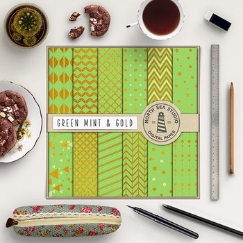 Green Mint And Gold Digital Paper Pack