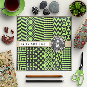 Green Mint Chalkboard Scrapbook Papers {Pretty Graphics}