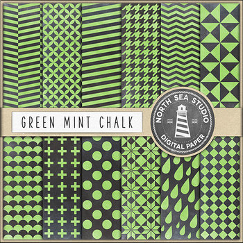 Chalkboard Background, Green Mint Chalkboard Scrapbook Papers