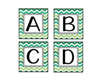 Green Multi Chevron Word Wall Letter Headers