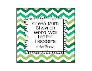 Green Multi Chevron Word Wall Letter Headers