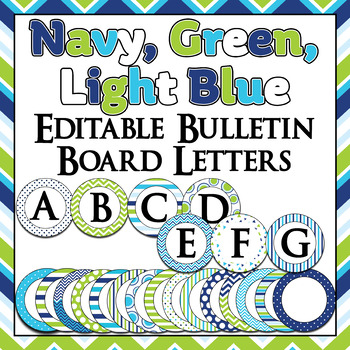 green navy blue and turquoise themed bulletin board letters labels word wall