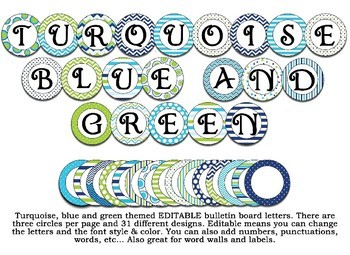 Green, Navy Blue, and turquoise themed Bulletin Board Letters, Labels, Word Wall