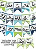 Green, Navy Blue, and turquoise themed Cursive Alphabet banner