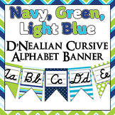 Green, Navy Blue, and turquoise themed D'Nealian Cursive Alphabet banner