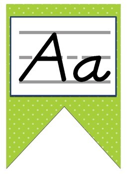 Green, Navy Blue, and turquoise themed print manuscript Alphabet banner