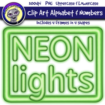 Green Neon Lights Clipart Letters & Frames